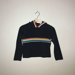 Vintage rainbow stripe crop top hoodie!!